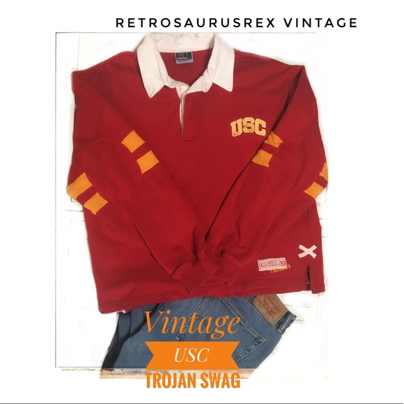 c17187c6c77 Vintage Shirts | 90s Usc Trojans Rugby Jersey Sweatshirt | Poshmark